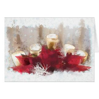 Poinsettias et bougies de carte de Noël
