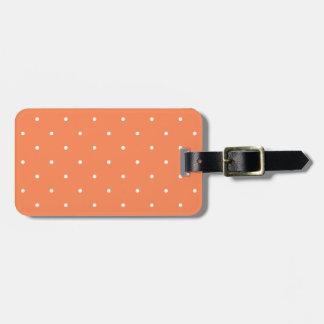 Point de polka de corail de style d'années '50 étiquette pour bagages