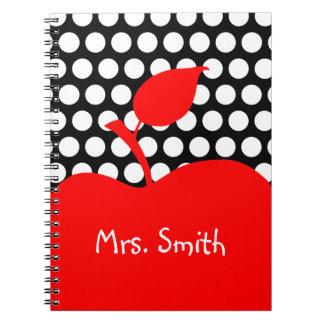 Point de polka noir et blanc rouge personnalisé carnet
