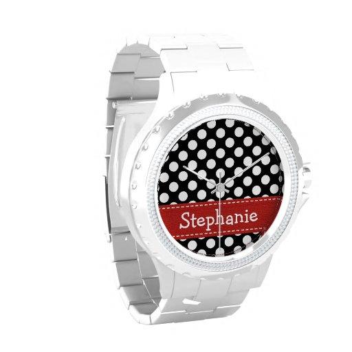 Point de polka noir et blanc rouge personnalisé montres