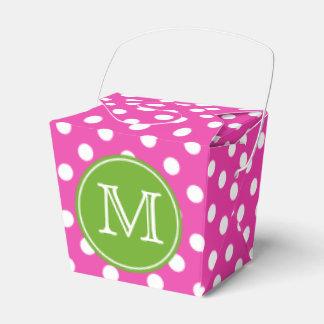 Point de polka rose et blanc avec le monogramme boite de faveur