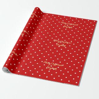 Point de polka rouge de manuscrit d'or de Faux de Papier Cadeau Noël