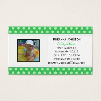 Point de polka vert : Carte de contact de maman