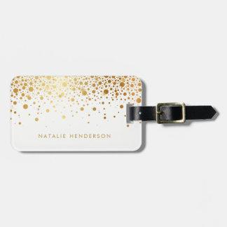 Points de confettis de feuille d'or de Faux Étiquette À Bagage