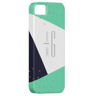 Points décorés d'un monogramme MODERNES de rayures Coque Case-Mate iPhone 5