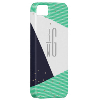 Points décorés d'un monogramme MODERNES de rayures Coque iPhone 5 Case-Mate
