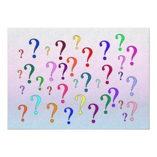 Points d'interrogation d'arc-en-ciel carton d'invitation  12,7 cm x 17,78 cm