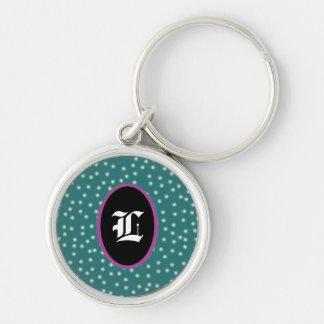Pois avec l'initiale customizeable porte-clé rond argenté