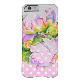 Pois blanc/rose de pivoine grande coque iPhone 6 barely there