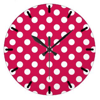 Pois blanc sur couleur cerise grande horloge ronde