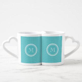 Pois blanc turquoise Girly, votre initiale de Mug