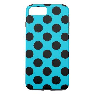 Pois bleu-clair et noir coque iPhone 7 plus