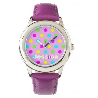 Pois coloré - montre personnalisée de nom montres bracelet