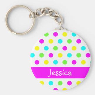 Pois coloré - porte - clé nommé personnalisé porte-clé rond