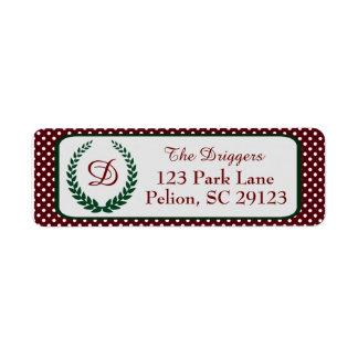 Pois de Noël avec le monogramme de guirlande Étiquette D'adresse Retour
