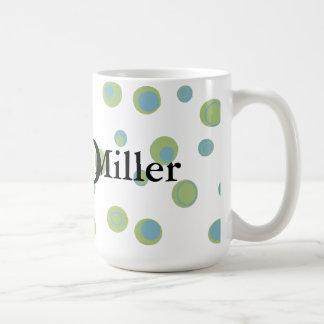 Pois de vert bleu décoré d'un monogramme mug blanc