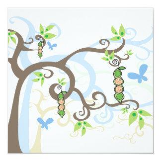 Pois jumeau de garçons d'arbres magiques dans le carton d'invitation  13,33 cm