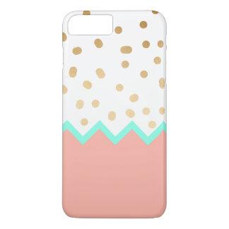 pois mignon élégant menthe et rose de feuille d'or coque iPhone 7 plus
