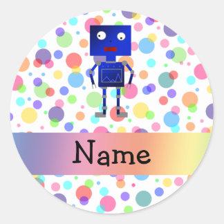 Pois nommé personnalisé d'arc-en-ciel de robot sticker rond