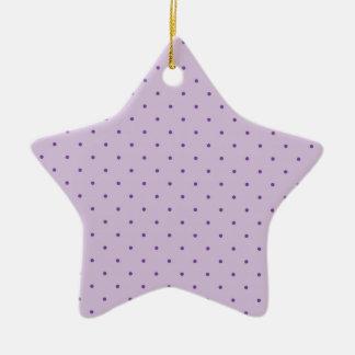 Pois pourpre minuscule sur mauve-clair ornement étoile en céramique