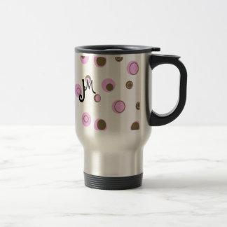 Pois rose de Brown décoré d'un monogramme Mug De Voyage En Acier Inoxydable