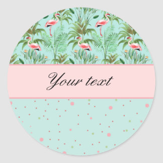 Pois rose de flamants sticker rond