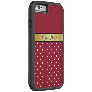Pois rouge de monogramme d'or et blanc épicé coque iPhone 6 tough xtreme