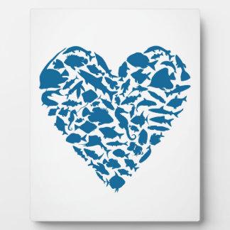 Poissons de coeur plaque photo