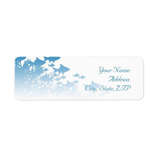 Poissons et corail bleus étiquette d'adresse retour