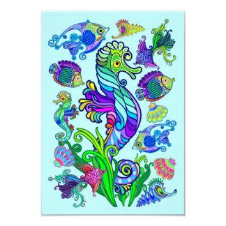 Poissons et hippocampes exotiques d'espèce marine carton d'invitation 8,89 cm x 12,70 cm
