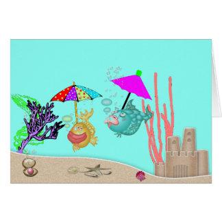 Poissons et parapluies drôles vides de la carte de