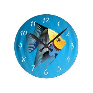 poissons tropicaux horloge ronde