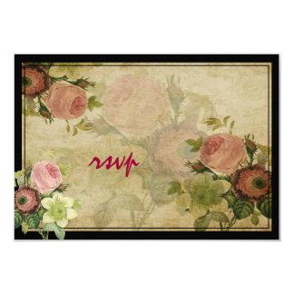 Polices vintages des roses de cottage de rsvp de carton d'invitation 8,89 cm x 12,70 cm