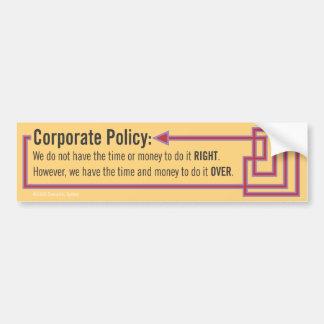 Politique d'entreprise autocollant de voiture