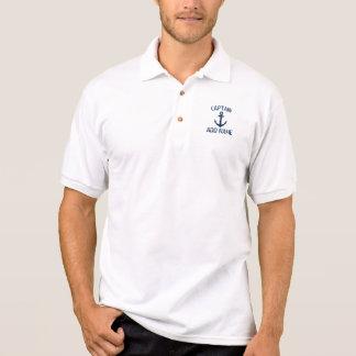 Polo nommé personnalisé d'ancre de capitaine de polo