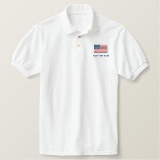 Polos de logo brodés par coutume de drapeau