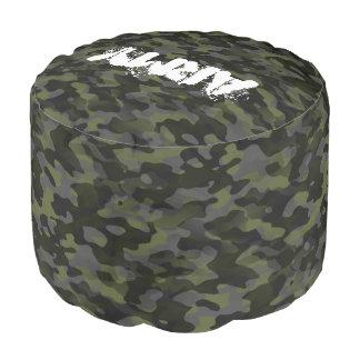 Polyester brossé résistant Round Pouf Camouflage
