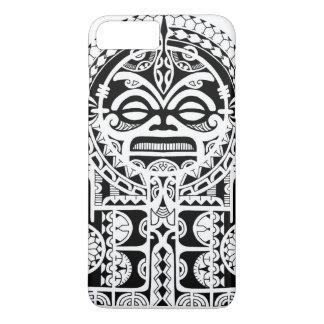 Polynesisch stammentattooontwerp met tikimasker iPhone 8 plus / 7 plus hoesje