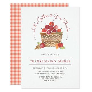 Pommes et invitation de dîner de thanksgiving de
