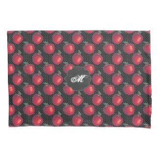 Pommes rouges blanches sur l'étiquette noir de housse d'oreillers