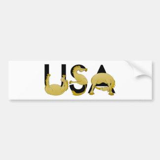 Poney fléchissant dans les lettres Etats-Unis Autocollant De Voiture