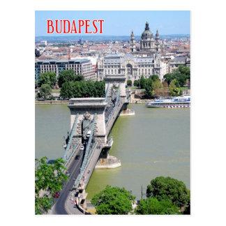 Pont à chaînes au-dessus de rivière Danube, Budape Carte Postale