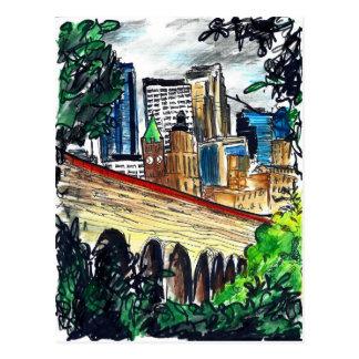 Pont en pierre de voûte, carte postale de