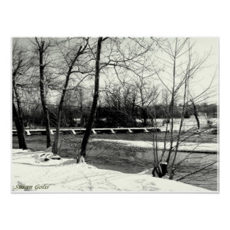 Pont noir et blanc du Missouri en affiche d'hiver