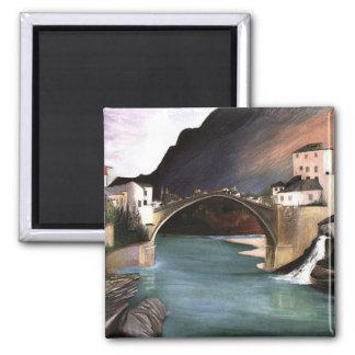 Pont romain de Csontvary- à Mostar Magnet Carré