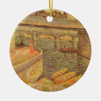 Ponts à travers la Seine par Vincent van Gogh Ornement Rond En Céramique