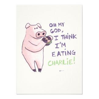 Porc affamé carton d'invitation  13,97 cm x 19,05 cm