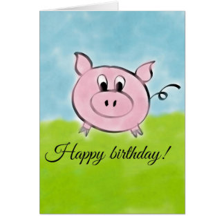 Porc de joyeux anniversaire carte