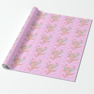 Porc de vol et coeurs roses papier cadeau