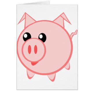 Porc heureux de bande dessinée carte de vœux